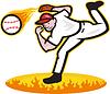 Baseball Pitcher Wurfball On Fire