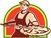 Baker Halten Peel Mit Pizza Pie Retro