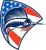 Sailfish Fisch Springen American Flag Schild Retro