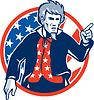 Uncle Sam amerikanischen Zeigefinger Flag Retro