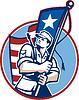 American Patriot Serviceman Soldat Flag Retro