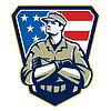 Amerikanischer Soldat Arme gefaltet Flag Retro