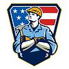 Amerikanischen Builder Carpenter Hammer Crest Retro