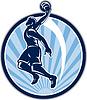 Basketball-Spieler Dunk Kugel Retro