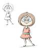 안경 소녀, 핑크 드레스를 입고 | Stock Vector Graphics