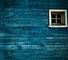 Blaue Holzwand, Fenster | Stock Foto