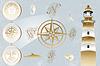 Antique nautischen Design-Elemente und Leuchtturm
