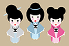 Japanische Puppen | Stock Vektrografik