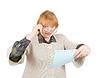 ID 4000227 | Zdziwiony starszy kobieta czytania papieru | Foto stockowe wysokiej rozdzielczości | KLIPARTO