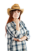 Happy pastoral woman in checkered shirt | Stock Foto