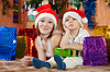Mother and son with Christmas gifts | Stock Foto