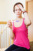 Sad serious woman with pregnancy test | Stock Foto