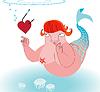 Romantische cartoon Meerjungfrau unter Köder Herz auf Haken