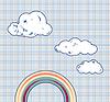 Мультяшный облаков и радуги в небе ретро текстурированная