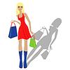 Mode blonde Modell mit Einkaufstüten