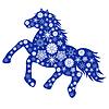 Blue Horse sylwetka z wielu płatków śniegu | Stock Vector Graphics