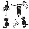 Набор кошек на белом фоне | Векторный клипарт
