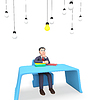 Businessman Lightbulbs Shows Power Sources And | Stock Illustration