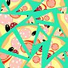 Muster Nahtlose Scheiben von Pizza auf blauem Hintergrund
