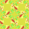 nahtlose Muster von Obst Wassermelone, Orange,