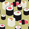 nahtlose Muster mit Sushi und Rollen auf Ocker