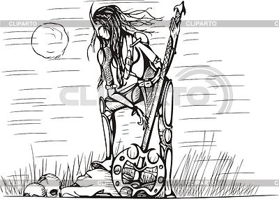 Amazone mit Schwert in der Nacht | Stock Vektorgrafik |ID 3267197