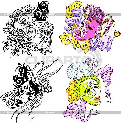 Karnawałowe maski weneckie | Klipart wektorowy |ID 3269877