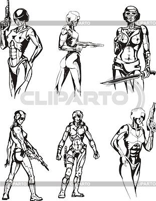 Amazonen-Cyborgs | Stock Vektorgrafik |ID 3306511