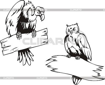 Vulture i Sowa z desek | Klipart wektorowy |ID 3347974