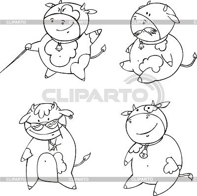 Lustige cartoon kälber set von schwarz weißen kontur vektor