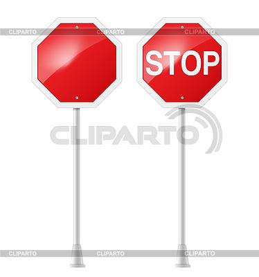 Zatrzymać znak drogowy z obsługą | Klipart wektorowy |ID 3772597