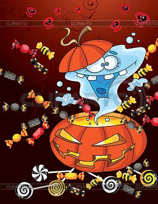 Открытка с призраком на Хэллоуин | Векторный клипарт |ID 3961510