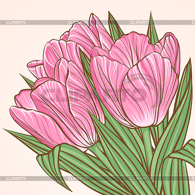 Floral Hintergrund mit Blüten von Tulpen | Stock Vektorgrafik |ID 3802640