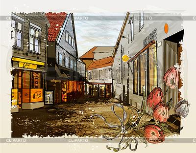 빈티지 도시의 거리. 수채화 스타일 | 높은 해상도 그림 |ID 3719716