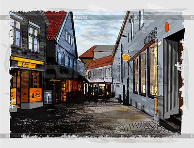 Ulica miasta. Akwarele stylu | Klipart wektorowy |ID 3719718