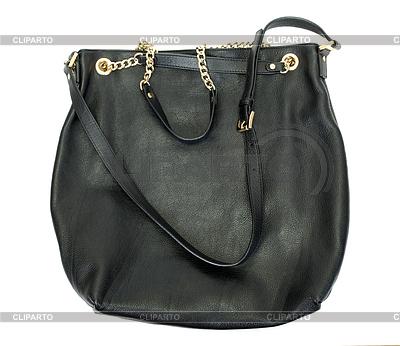 Schwarze Mode Frauen Tasche am weißen Hintergrund | Foto mit hoher Auflösung |ID 3881851