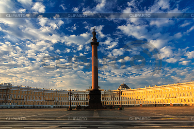Красивое утреннее небо над Дворцовой площадью, | Фото большого размера |ID 3803019