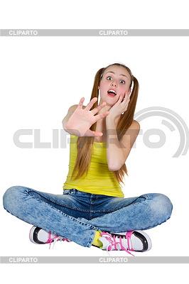 Mädchen im gelben T-Shirt und blaue Jeans | Foto mit hoher Auflösung |ID 3780598