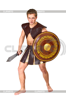 Młody mężczyzna wojownik z tarczą | Foto stockowe wysokiej rozdzielczości |ID 4015053