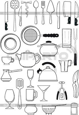 Zestaw naczyń kuchennych | Klipart wektorowy |ID 3732350
