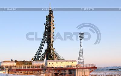 바이 코 누르에서 발사 패드에 소유즈 우주선 | 높은 해상도 사진 |ID 4027588