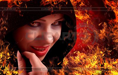 Frau Hexe auf Feuer, Halloween | Foto mit hoher Auflösung |ID 3903952
