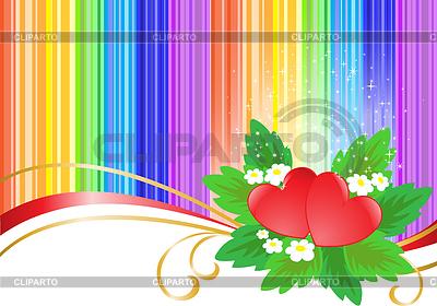 Zwei Herzen auf Regenbogen Hintergrund | Stock Vektorgrafik |ID 3785658