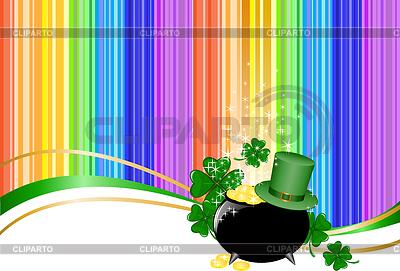 Regenbogen Hintergrund mit Koboldhut und Glas   Stock Vektorgrafik  ID 3899009