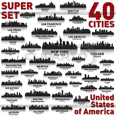 Большой набор линий горизонта городов США | Векторный клипарт |ID 3790258