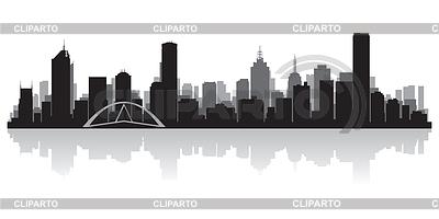Мельбурн Австралия - силуэт горизонта города | Векторный клипарт |ID 3838743
