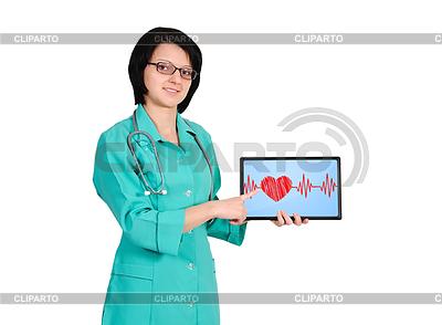 Herzschlag auf Touchpad | Foto mit hoher Auflösung |ID 3839954