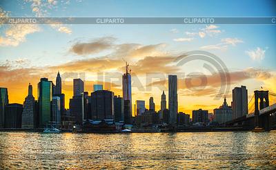 Нью-Йорк - панорама города на закате | Фото большого размера |ID 3795499