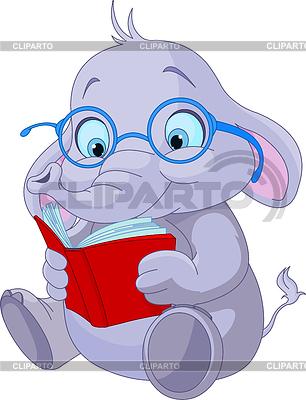 Elephant Śliczne czyta książki | Klipart wektorowy |ID 3724177