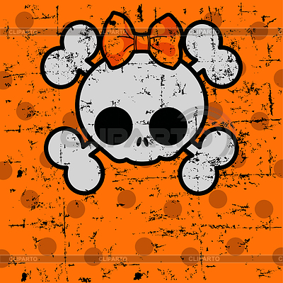 Nette Halloween-Schädel mit Bogen | Stock Vektorgrafik |ID 3828458